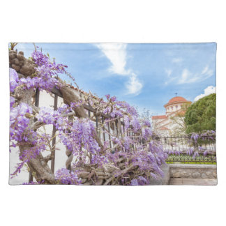 Blooming blue Wisteria sinensis on fence in Greece Placemat