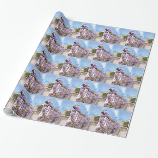 Blooming blue Wisteria sinensis on fence in Greece Wrapping Paper