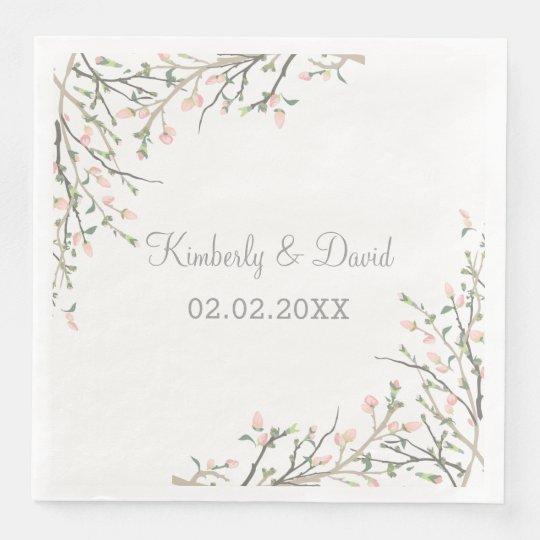 Blooming Blush Floral Wedding Paper Napkin