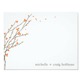 "Blooming Branches Flat Thank You Card - Orange 4.25"" X 5.5"" Invitation Card"