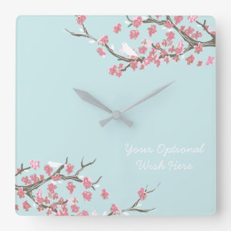 Blooming Branches Turquoise Clock