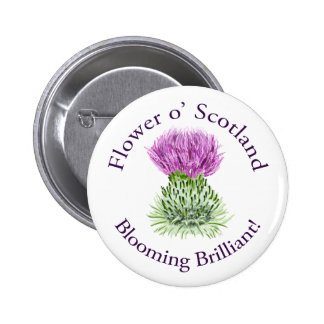 Blooming Brilliant Scottish Thistle 2 Inch Round Button