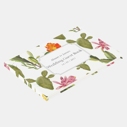 Blooming cactus succulent wedding guest book
