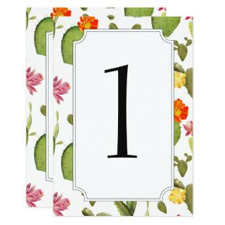 Blooming cactus wedding table number