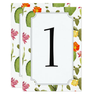 Blooming cactus wedding table number card