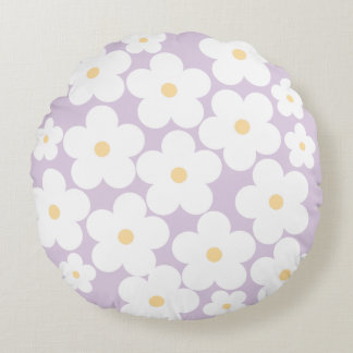 Blooming cherry blossom-lavender round pillow