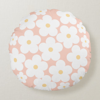 Blooming cherry blossom-pink round pillow