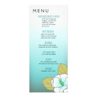 Blooming Cherry Blossoms Dinner Menu aqua Personalized Invite