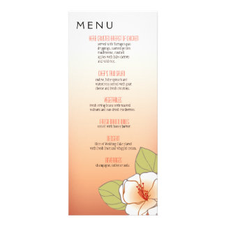 Blooming Cherry Blossoms Dinner Menu peach Announcement