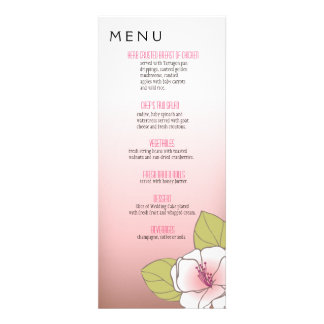 Blooming Cherry Blossoms Dinner Menu pink Custom Announcements