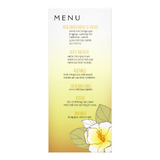 Blooming Cherry Blossoms Dinner Menu yellow Custom Announcements