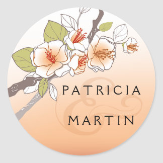 Blooming Cherry Blossoms peach Classic Round Sticker