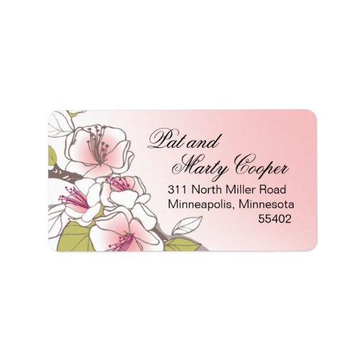 Blooming Cherry Blossoms pink Address Label