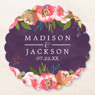 Blooming Chic Color Editable Monogram Wedding Paper Coaster