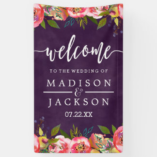 Blooming Chic Color Editable Wedding Welcome Banner