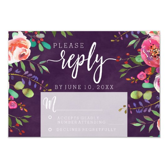Blooming Chic Colour Editable Wedding Reply RSVP Card