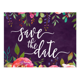 Blooming Chic Colour Editable Wedding Save the Postcard
