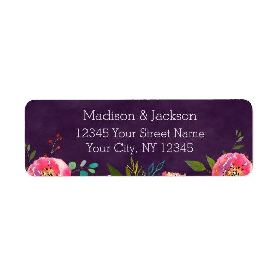Blooming Chic Floral Wedding Couple Return Address Return Address Label