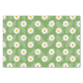 Blooming Daisy Flowers Pattern On Green Tissue Paper