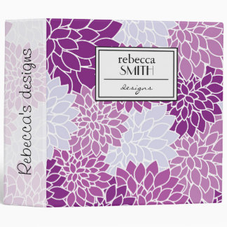Blooming Flowers, Dahlia Blossoms - Blue Purple Vinyl Binders