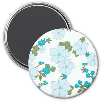 Blooming Flowers Petals Leaves - Blue Green Magnets