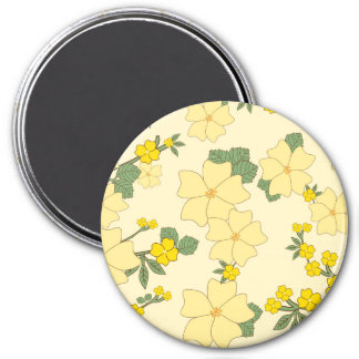 Blooming Flowers Petals Leaves - Yellow Green Refrigerator Magnets