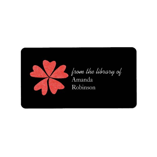 Blooming hearts personalized bookplate - black label