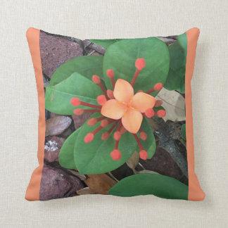 Blooming Ixsora Throw Pillow