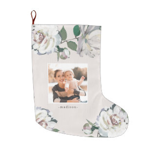 Blooming Joy Floral Photo Christmas Stocking