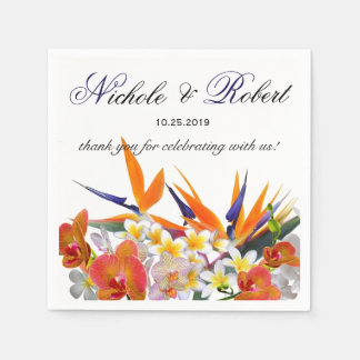 Blooming Joy-Tropical Flowers Wedding Custom Paper Napkins