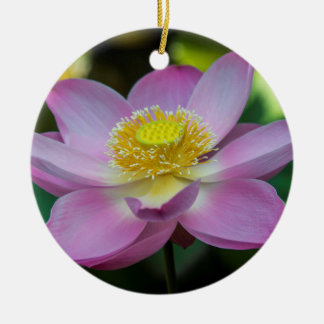 Blooming lotus flower, Indonesia Round Ceramic Ornament