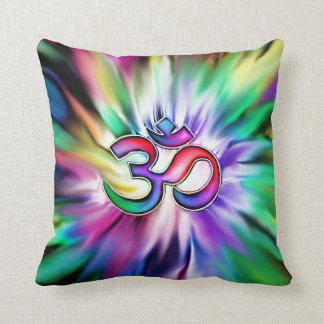 Blooming Lotus Flower Rainbow OM Throw Pillow