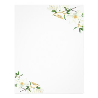 Blooming Magnolia watercolor Letterhead