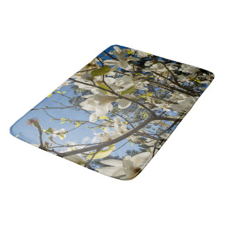 Blooming magnolias bath mat