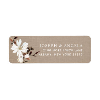 Blooming Magnolias Burlap Return Address