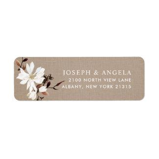 Blooming Magnolias Burlap Return Address Return Address Label