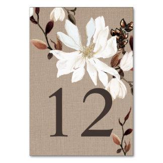 Blooming Magnolias Burlap Wedding Table Card