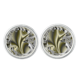 Blooming Olive Green Fractal Cufflinks