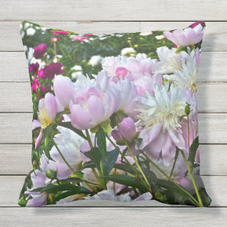 BLOOMING PEONIES OUTDOOR ACCENT PILLOW