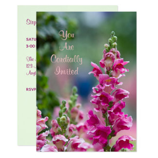 Blooming Pink Foxglove Bridal Shower Invitation