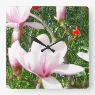 Blooming Pink Magnolia 01 Square Wall Clock