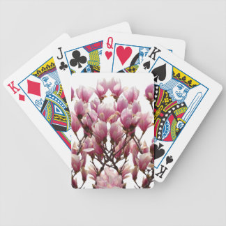 Blooming Pink Magnolias Spring Flower Bicycle Playing Cards