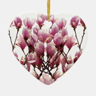 Blooming Pink Magnolias Spring Flower Ceramic Ornament