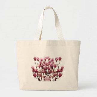 Blooming Pink Magnolias Spring Flower Large Tote Bag