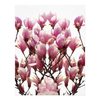 Blooming Pink Magnolias Spring Flower Letterhead