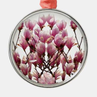 Blooming Pink Magnolias Spring Flower Metal Ornament
