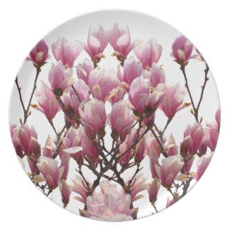 Blooming Pink Magnolias Spring Flower Plate