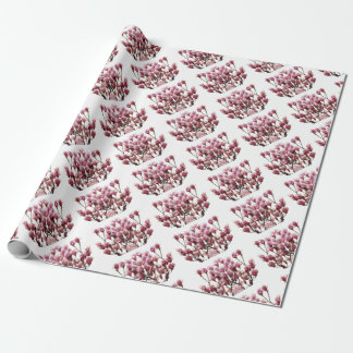 Blooming Pink Magnolias Spring Flower Wrapping Paper