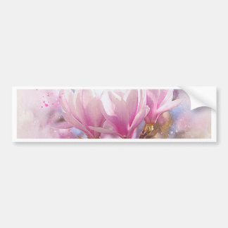 Blooming Pink Purple Magnolia - Spring Flower Bumper Sticker