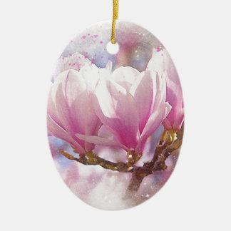 Blooming Pink Purple Magnolia - Spring Flower Ceramic Ornament